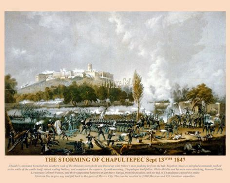 Fine art print of the American Civil War of the Storming of Chapultepec Sept 13th 1847